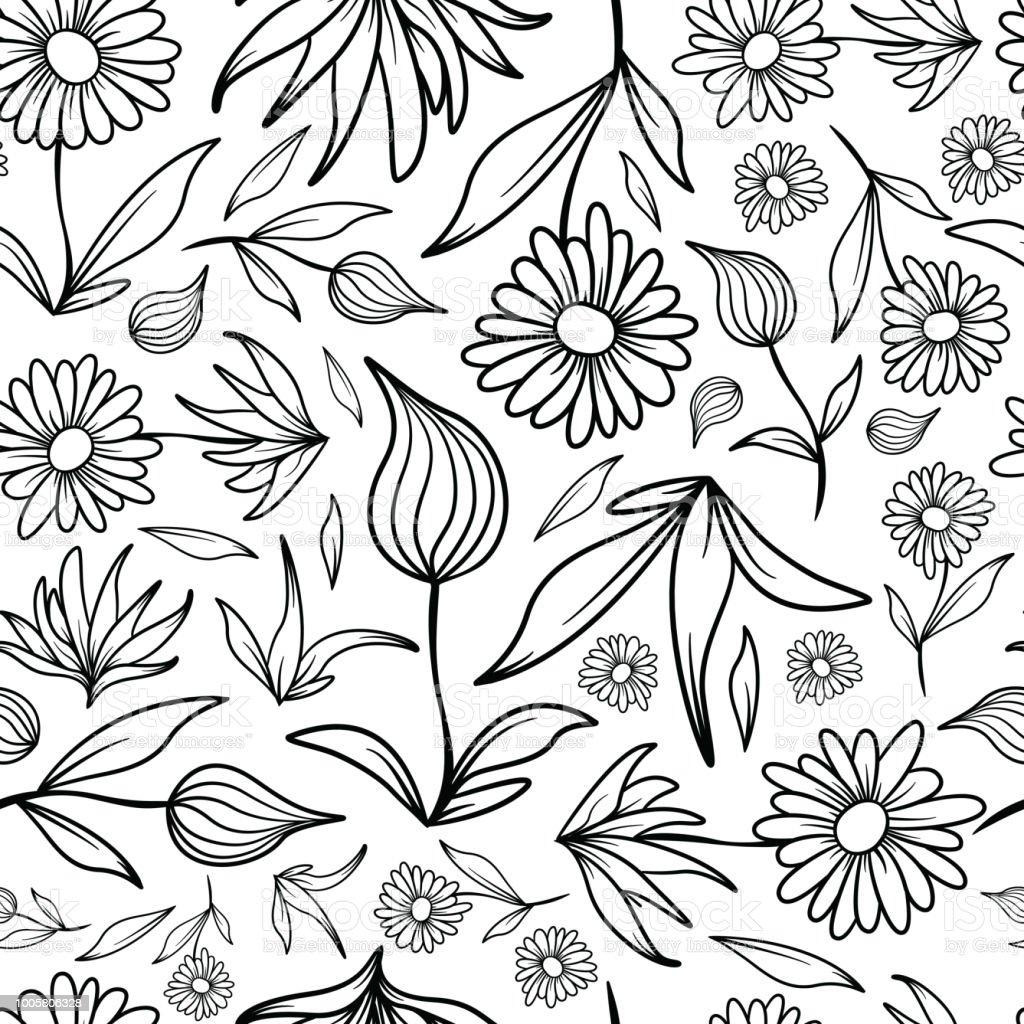Flowers and Leaves Line Art Pattern vector art illustration