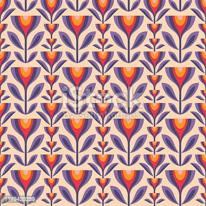 Flowers and leaves. Mid-century modern art vector background. Abstract geometric seamless pattern. Decorative ornament in retro vintage design style. Floral backdrop.