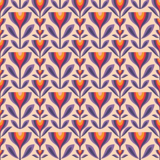 blumen und blätter. mitte des jahrhunderts moderne kunst vektor hintergrund. abstrakte geometrische nahtlose muster. dekorative ornament in retro-vintage-design-stil. floral hintergrund. - tapete stock-grafiken, -clipart, -cartoons und -symbole