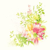 Flower design with watercolor effect.Gradient used,global colors,layered.Hi res jpeg included.Please take a look at other works of mine linked below.