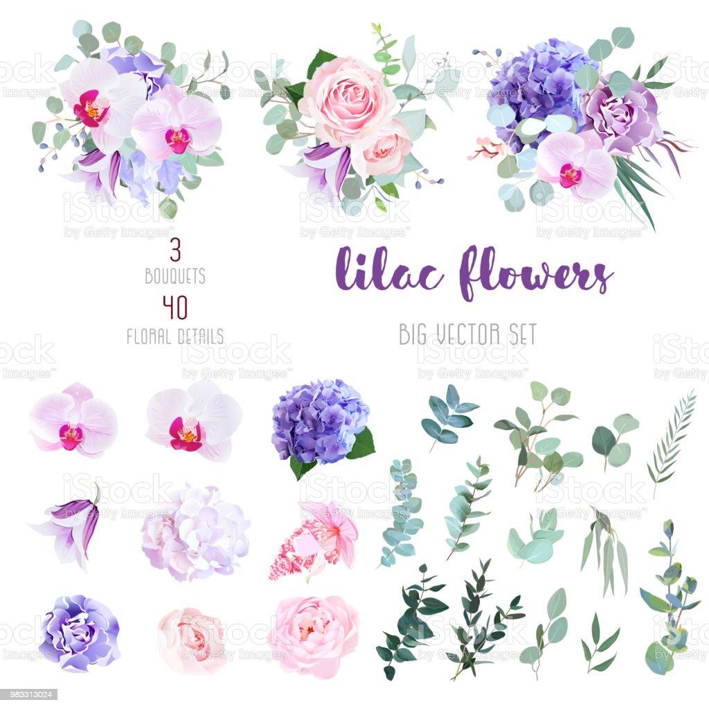 花と緑の大きなのミックスのベクトル コレクション ベクターアートイラスト