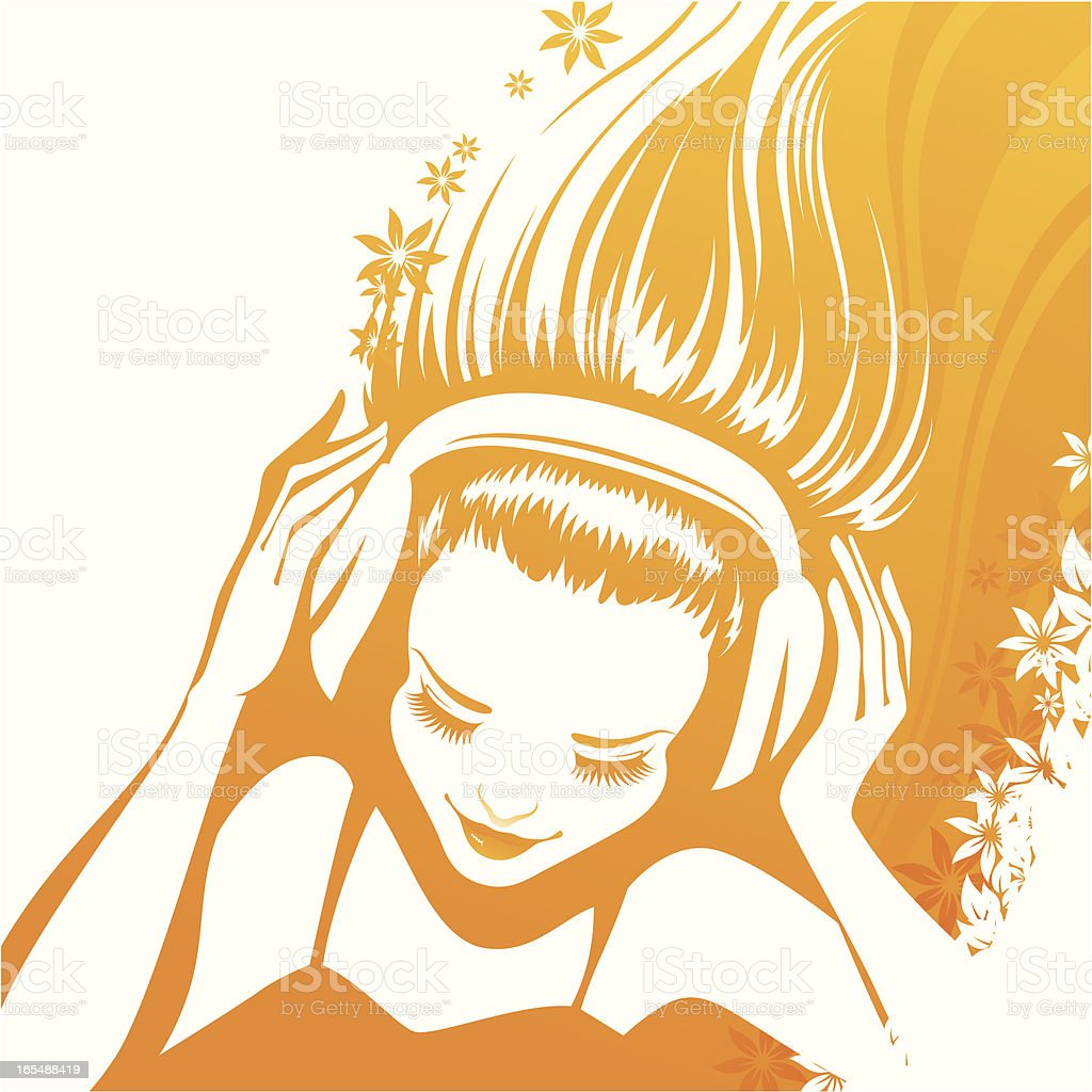 Flowers and music vector art illustration