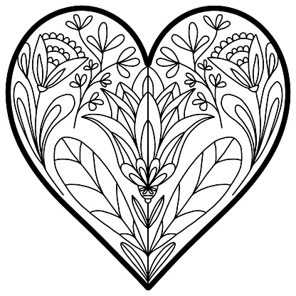 flowers and ornaments in folk style drawn with a heart on a white background for coloring, vector