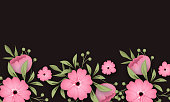 istock flowers and palm leaves on background. 1285091299