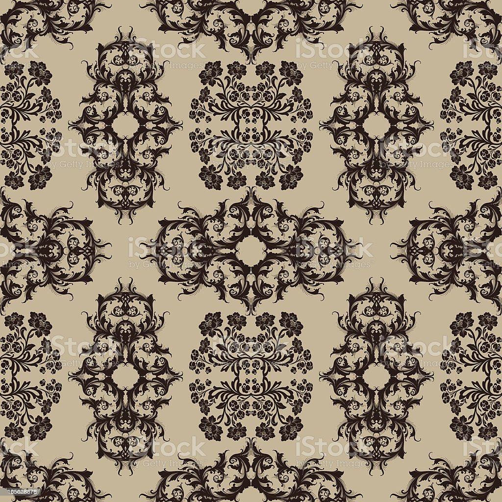 Flowers and Scroll Wallpaper - Seamless vector art illustration