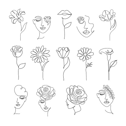 flowers and women in one line drawing style