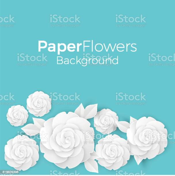 Flowers background with paper blooming white 3d roses with leaves vector id819626398?b=1&k=6&m=819626398&s=612x612&h=k5fgmven9pfdlrvh q ntsgpflyy8ajrwpc6aimzzj4=