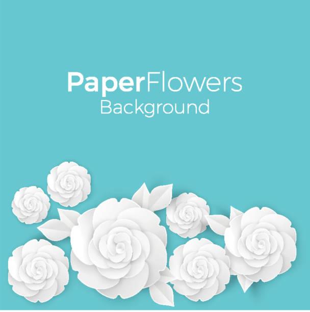 bildbanksillustrationer, clip art samt tecknat material och ikoner med blommor bakgrund med papper blommande vita 3d rosor med lämnar - white roses