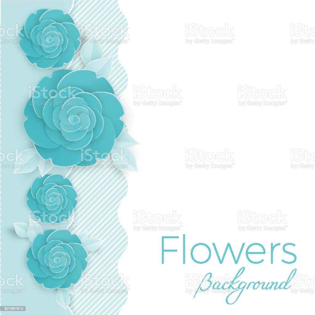 3 つの次元の青いバラの花背景 のイラスト素材 827967816   istock
