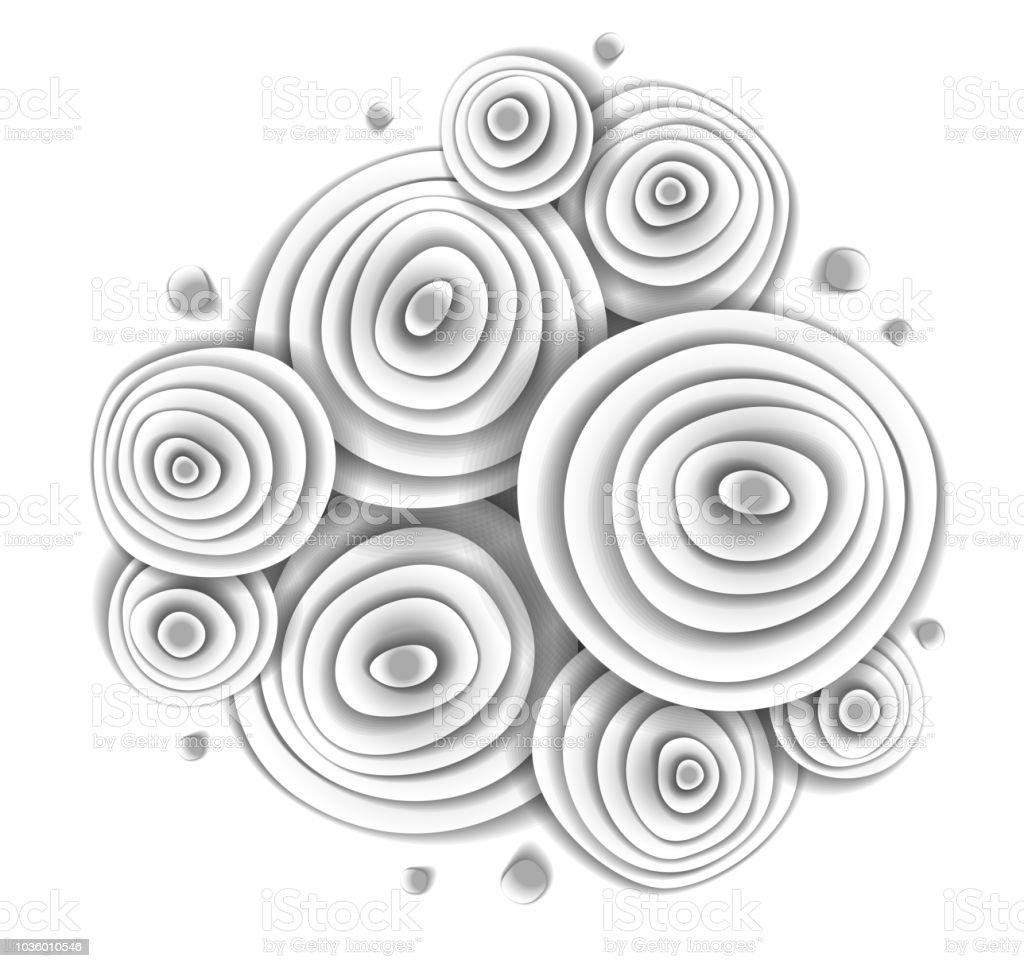 Güzel bir tasarım ile yapılan çiçek tarafsız kağıt, vektör çizim kağıt kesim tarzı beyaz. Düğün davetiyesi veya romantik tebrik kartı. vektör sanat illüstrasyonu