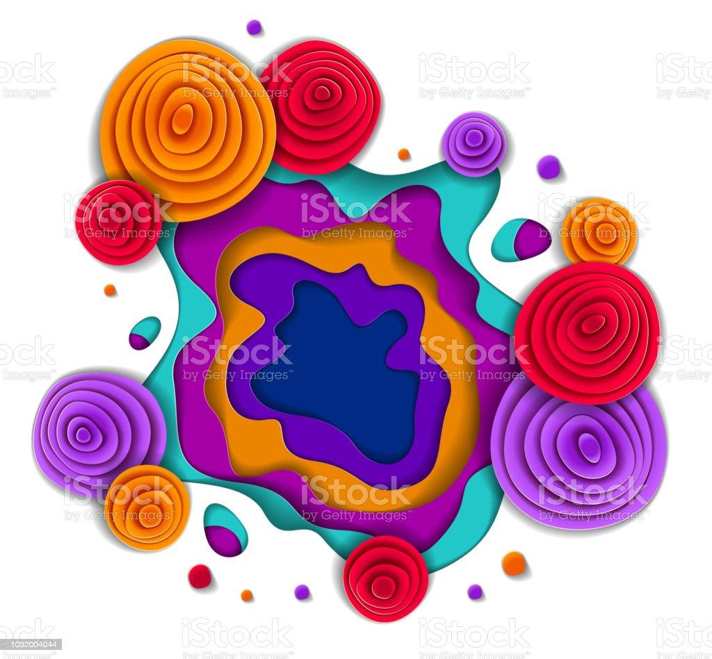Çiçekler güzel tasarım, vektör çizim stili kesilmiş kağıt. Düğün davetiyesi veya romantik tebrik kartı. vektör sanat illüstrasyonu