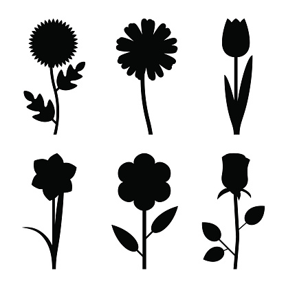Flowers black silhouettes
