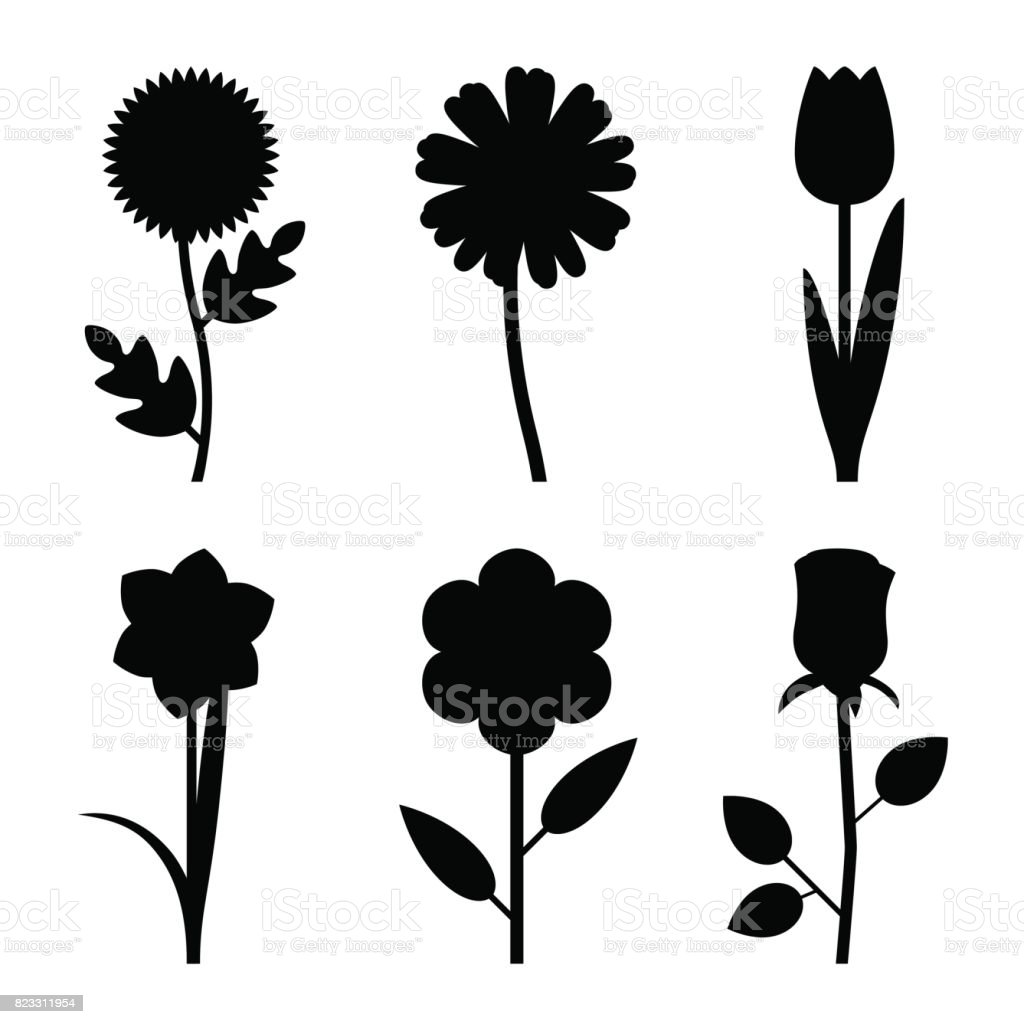 Flowers black silhouettes vector art illustration