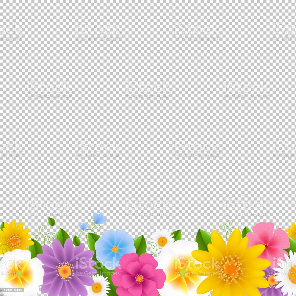 花ボーダー透明な背景 - アメリカ合衆国のベクターアート素材や画像を