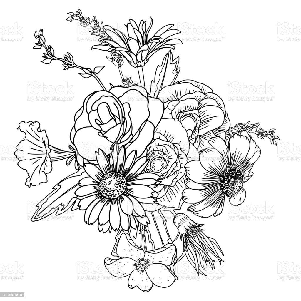 ritade bilder på blommor