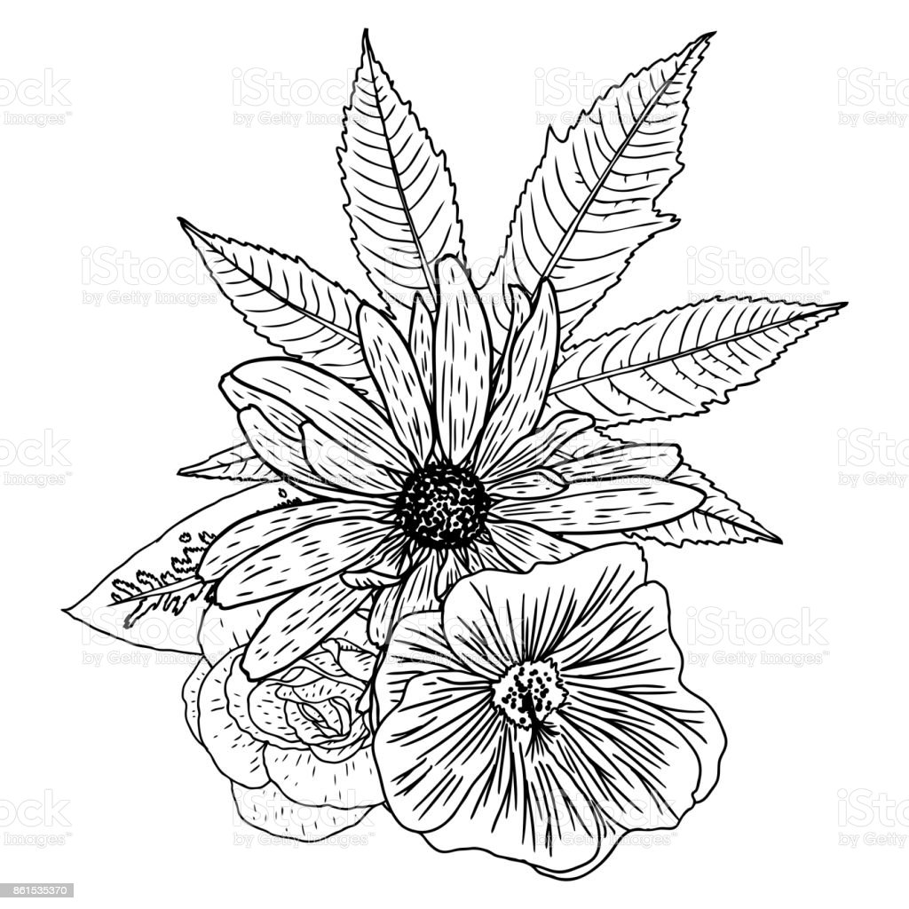 Flowers Bouquet Of Different Hand Drawn Flowers Vintage Black White