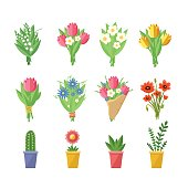 Flowers bouquets set. Tulips, poppies, chamomile, lilies of the valley, plants. Vector colorful illustration isolated on white