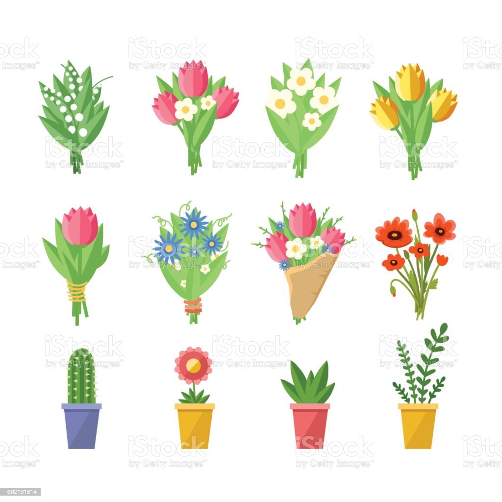 Flowers bouquets set. vector art illustration
