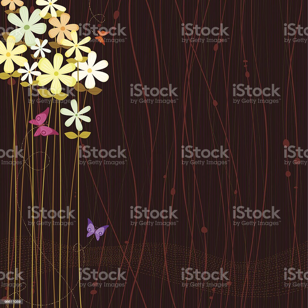 Flowers brown background - Royalty-free Animal Themes stock vector