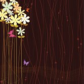 Chocolate brown background with pastel colored flowers and butterflies.