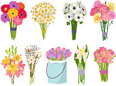 istock Flowers brunch bouquet set collection flat floral vector garden vector illustration 862111858