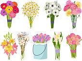 Flowers brunch bouquet set collection flat floral vector garden vector illustration