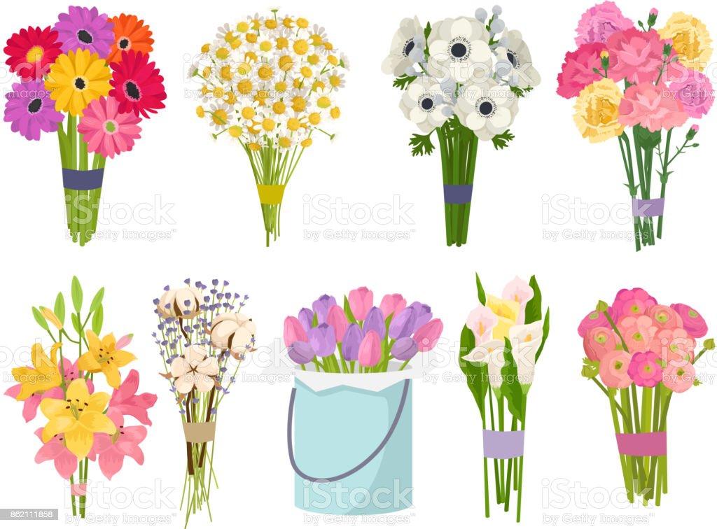 Ramo de flores brunch establece ilustración de vector de jardín colección plana floral vector - ilustración de arte vectorial
