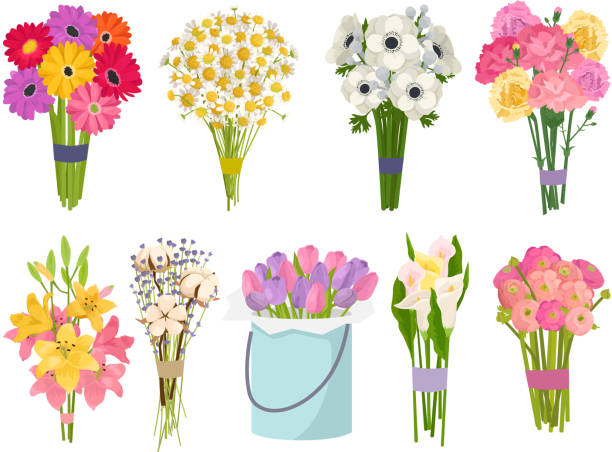 Flowers brunch bouquet set collection flat floral vector garden vector illustration Flowers brunch bouquet set collection flat floral vector garden vector illustration. Botanical natural peonies illustration on white. Summer floral greeting card botany colorful rose decoration. bunch stock illustrations