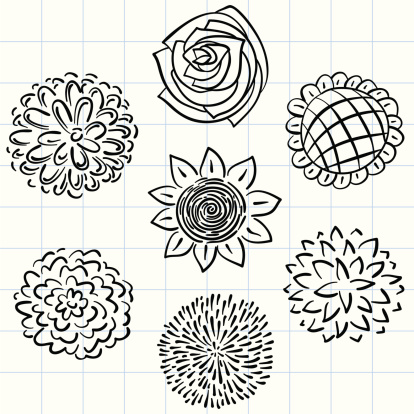 Flowers collection in black and white