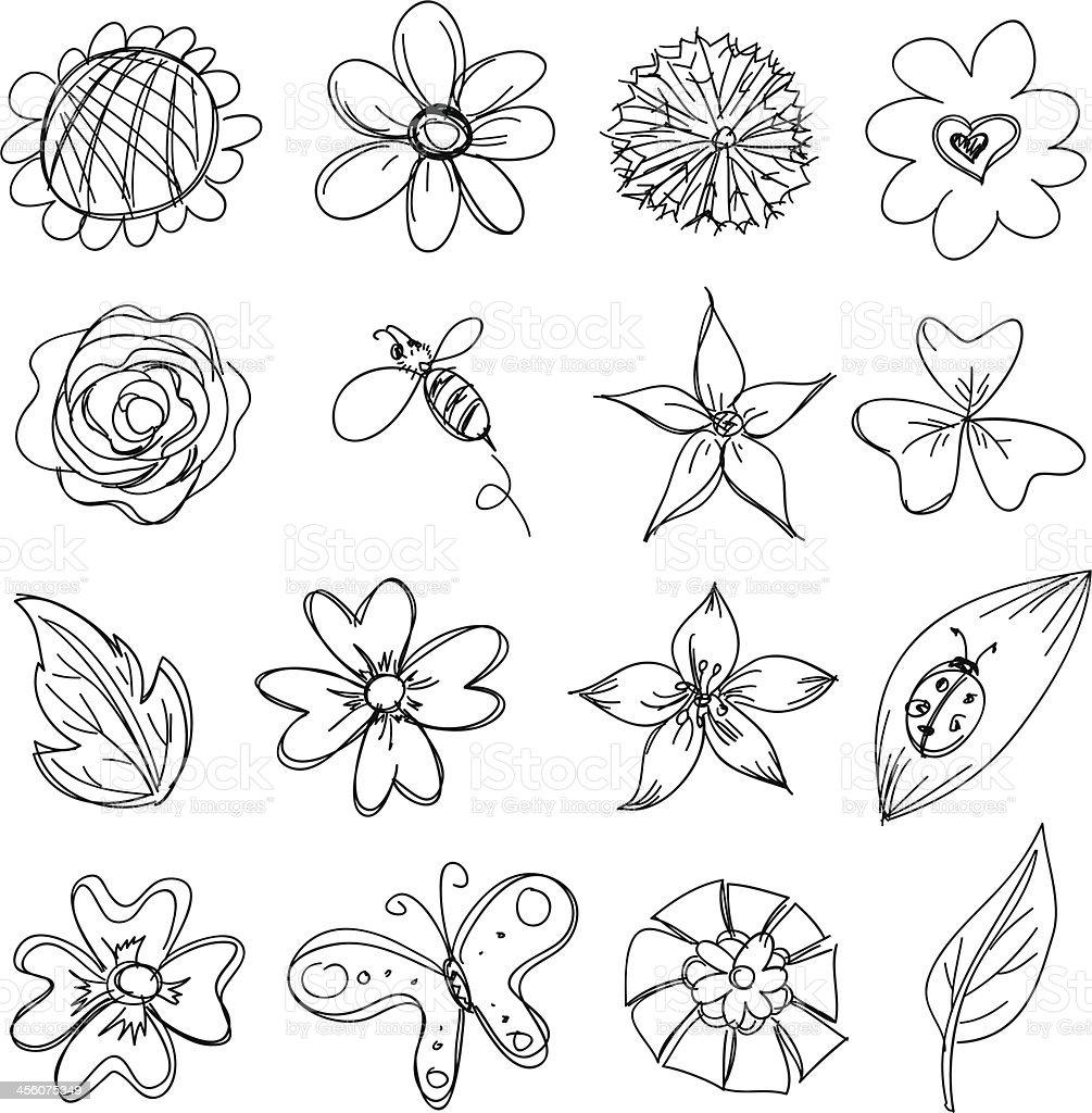 Blumen-Sammlung in schwarz und weiß – Vektorgrafik