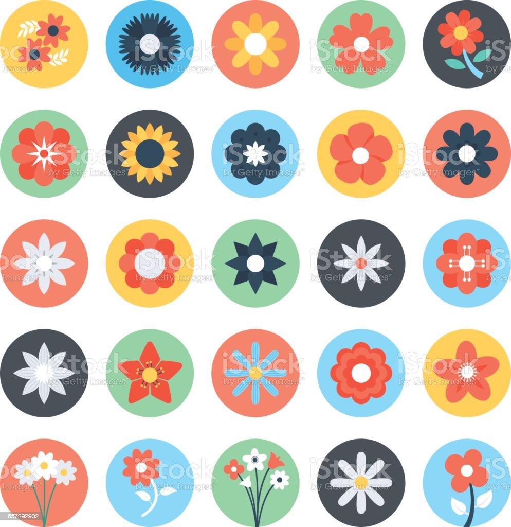 Flores color Vector iconos 3 - ilustración de arte vectorial