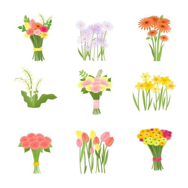 stockillustraties, clipart, cartoons en iconen met de samenstellingsreekspictogrammen van bloemen die op witte achtergrond worden geïsoleerd - vierkant compositie