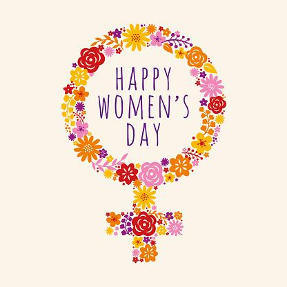 Flowers decorated female symbol for International Womens Day celebration. Vector illustration.