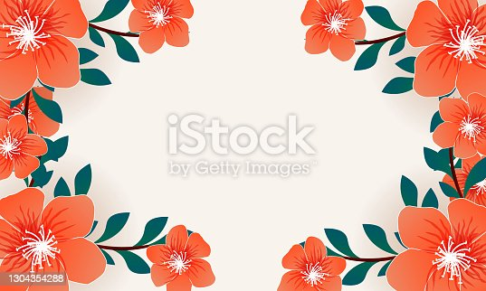 istock flowers decorated header or banner design background 1304354288