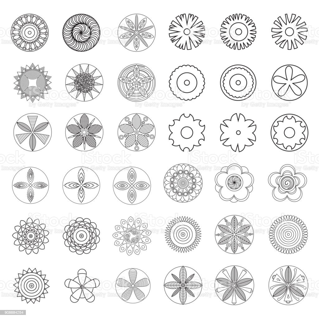 Flowers Design Element For Coloring Page Book Hipster Geometrical ...