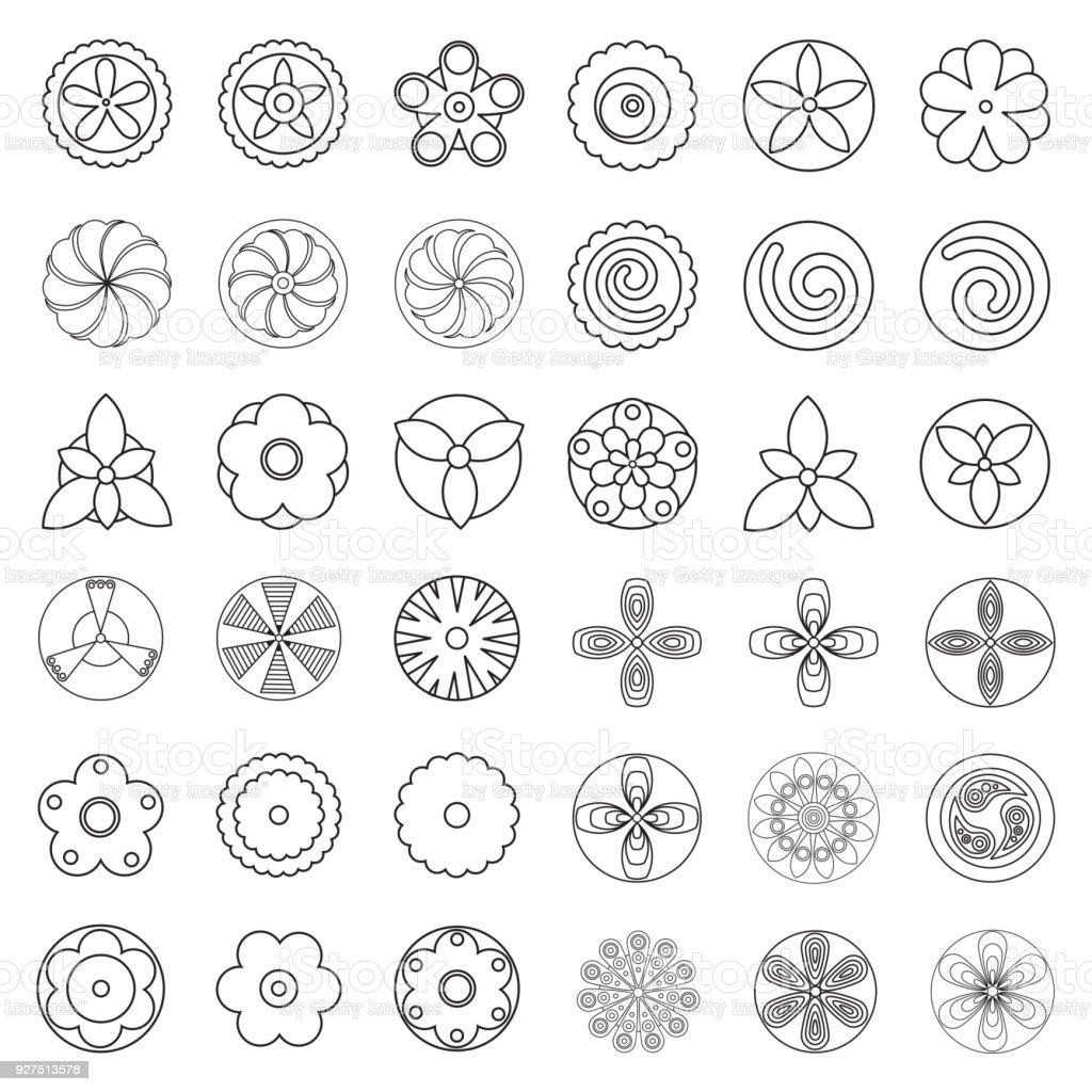 Cicek Boyama Sayfasi Kitabi Icin Oge Tasarlayin Hipster Geometrik
