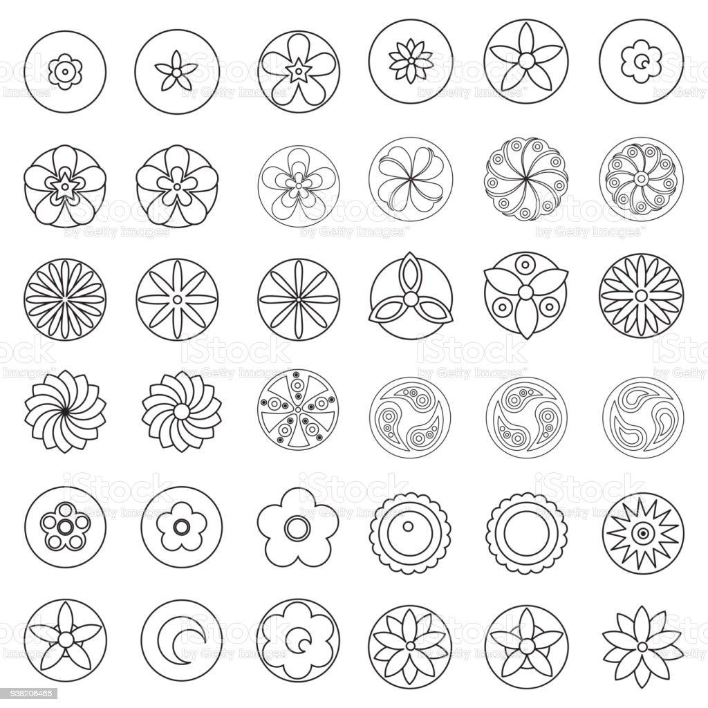 çiçek Boyama Sayfası Kitabı Için öğe Tasarlayın Hipster Geometrik