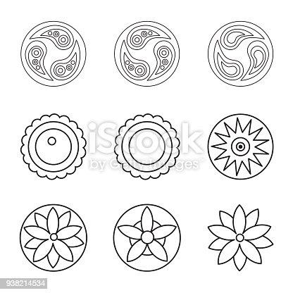 istock Blanco y negro vector flores con sesenta nueve diseños ...