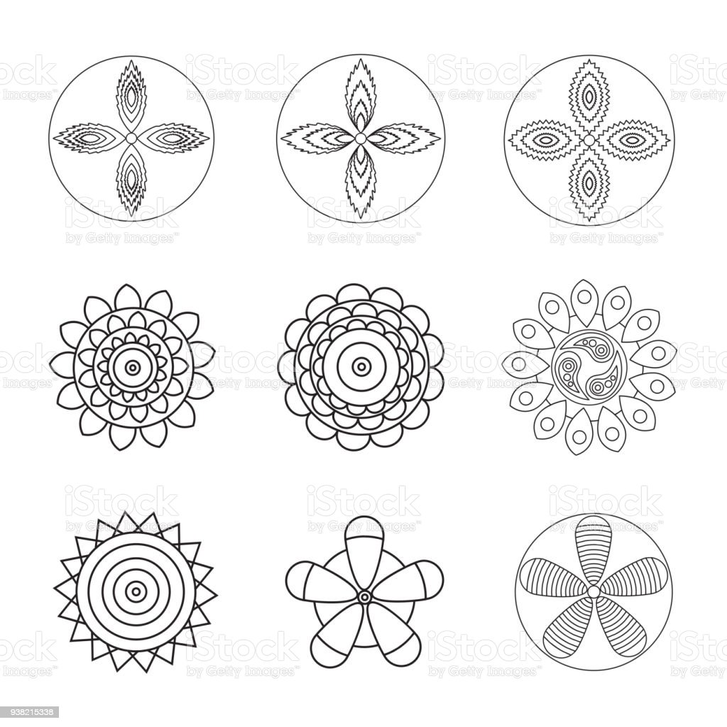 Flowers Design Element For Coloring Page Book Hipster