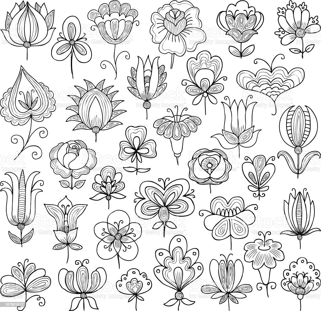 flowers doodle royalty-free stock vector art