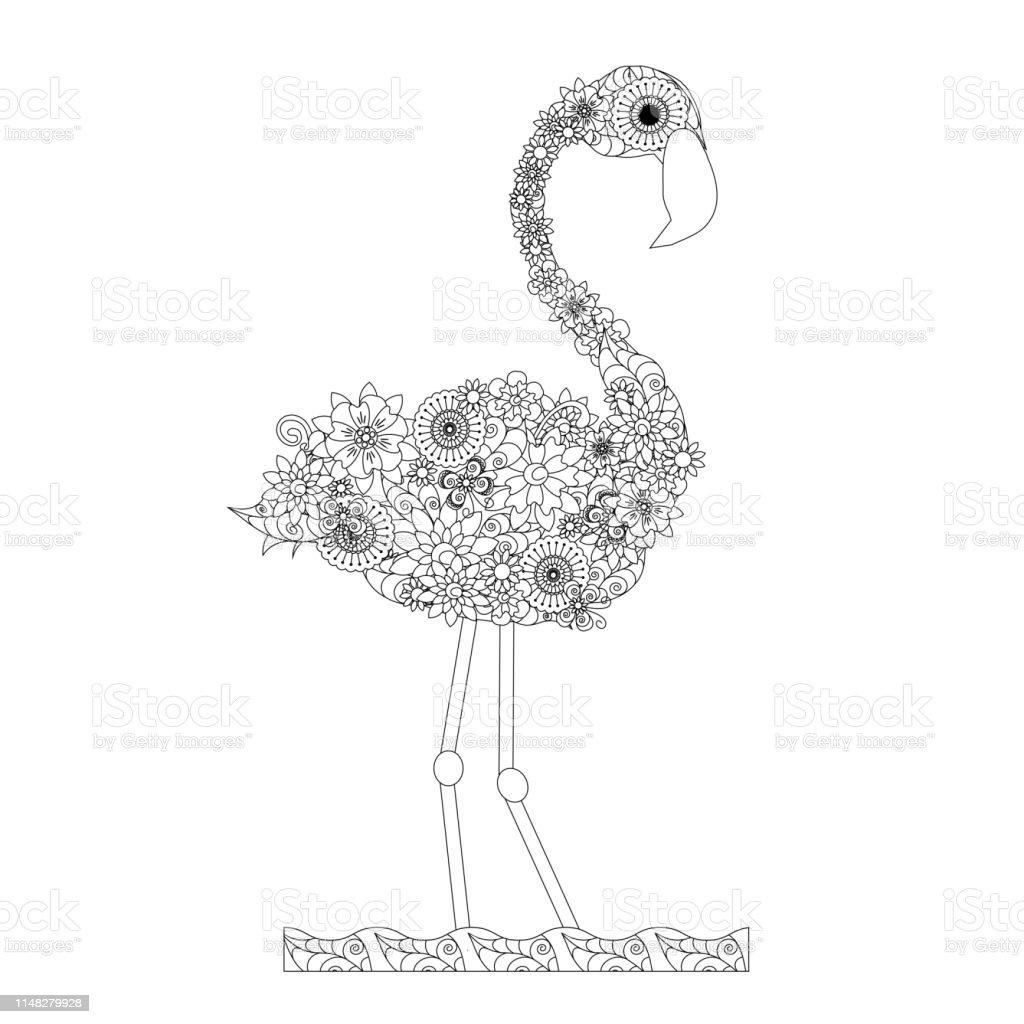 Cicekler Flamingo Boyama Kitabi Antistress Stok Vektor