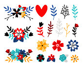 Flowers flat color vector illustrations set. Multicolor wildflowers and tree branches isolated pack on white. Cartoon tulips and daisies design elements collection. Floral and botanical decorations