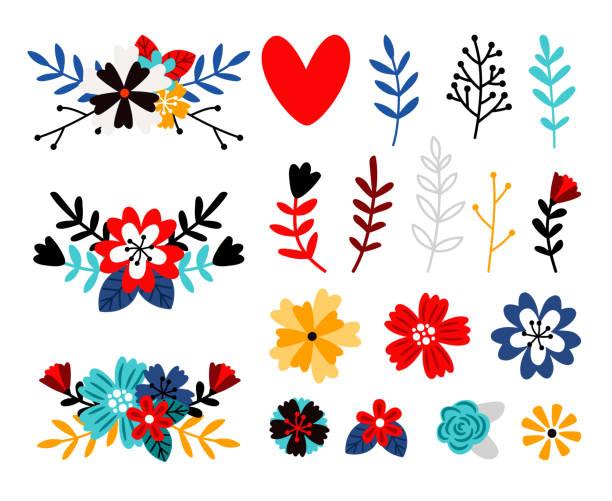Flowers flat color vector illustrations set vector art illustration