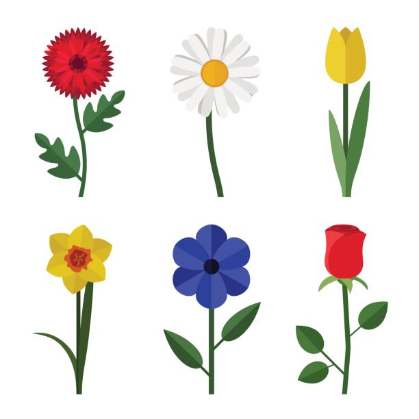 Flowers flat icons Flowers icons in flat style. Vector simple illustration of garden flowers. plant stem stock illustrations