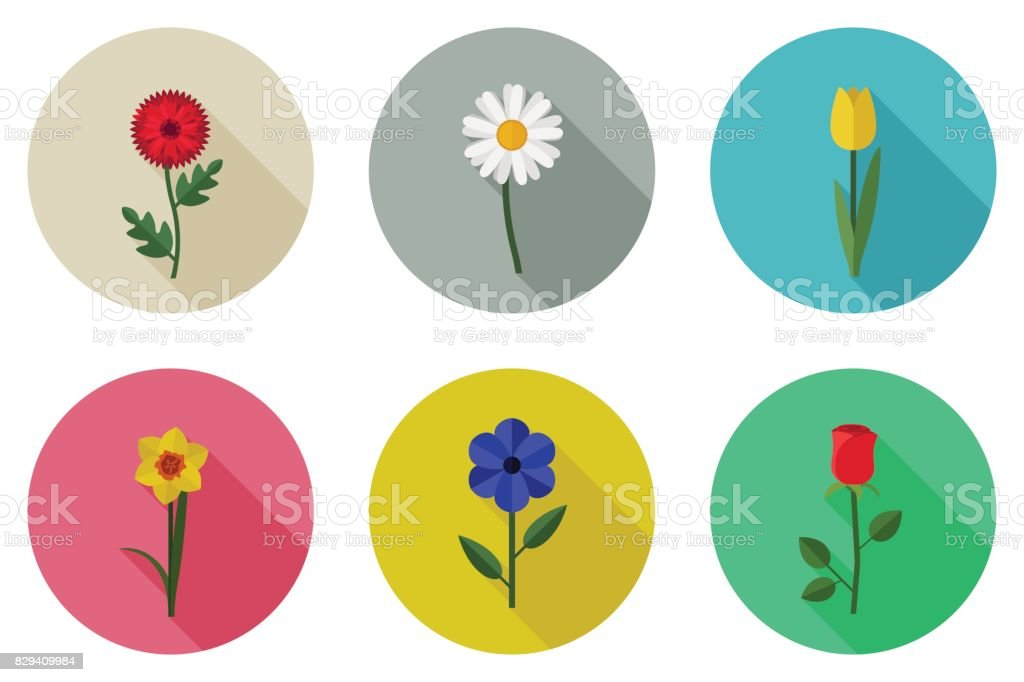 Flowers flat icons vector art illustration