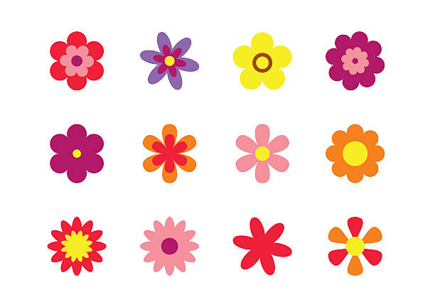 Flowers flat style isolated on white. Set colorful floral icons. Set of colorful floral icons. Flowers isolated on white background. Flowers in flat dasing style. Vector Illustration trillium stock illustrations