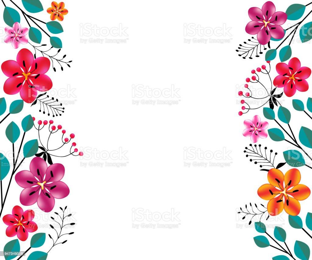 floral background bouquet leaves bright red border frame - Floral Backgrounds