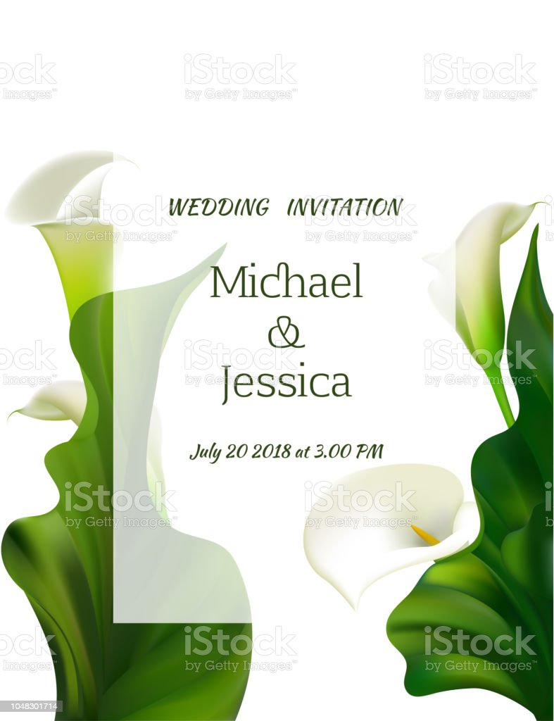 Arrière-plan Floral de fleurs. Callas. Des feuilles vertes. Motif de fleurs. Bouquet. Cadre. Faire-part de mariage. - Illustration vectorielle