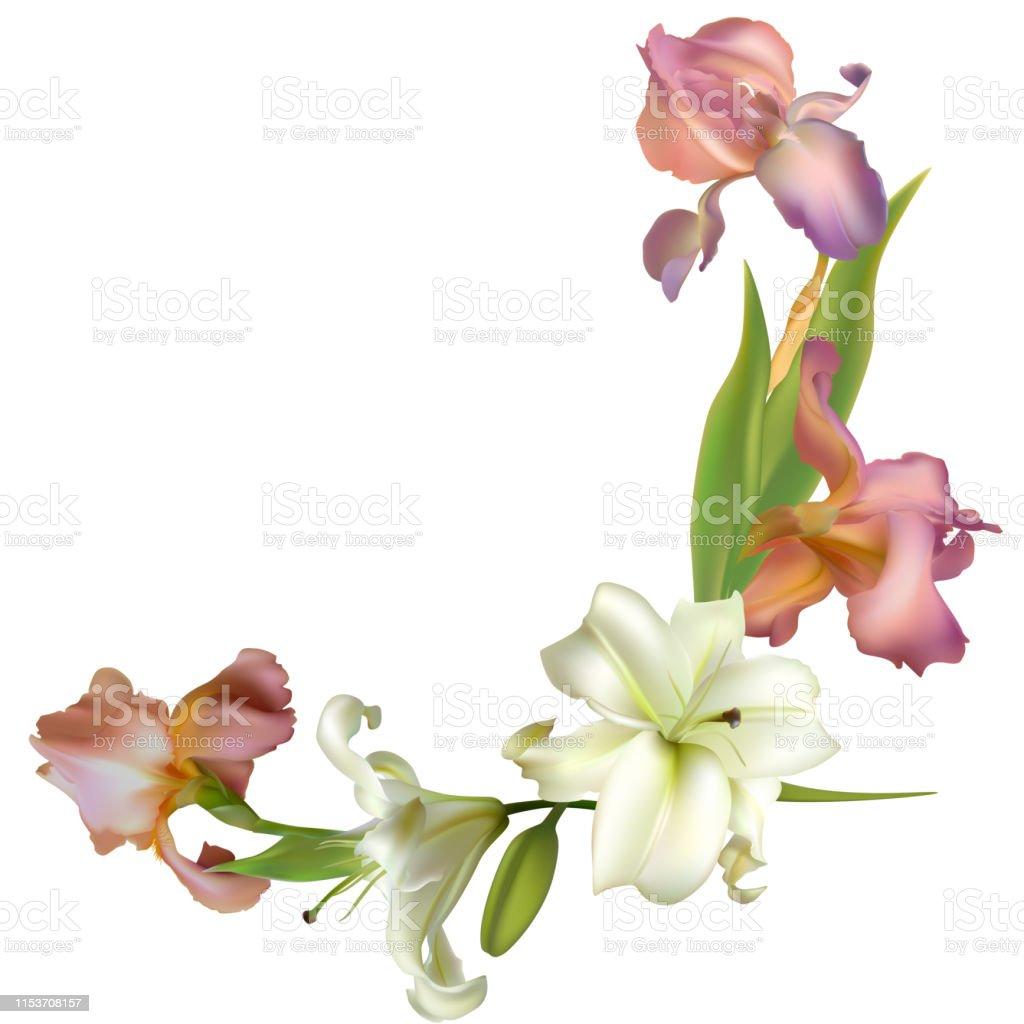 blaue Lilien Blumen Bordüre