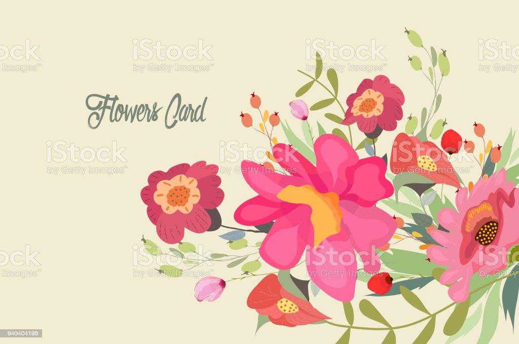 花、花。きれいな花の結婚式 ベクターアートイラスト